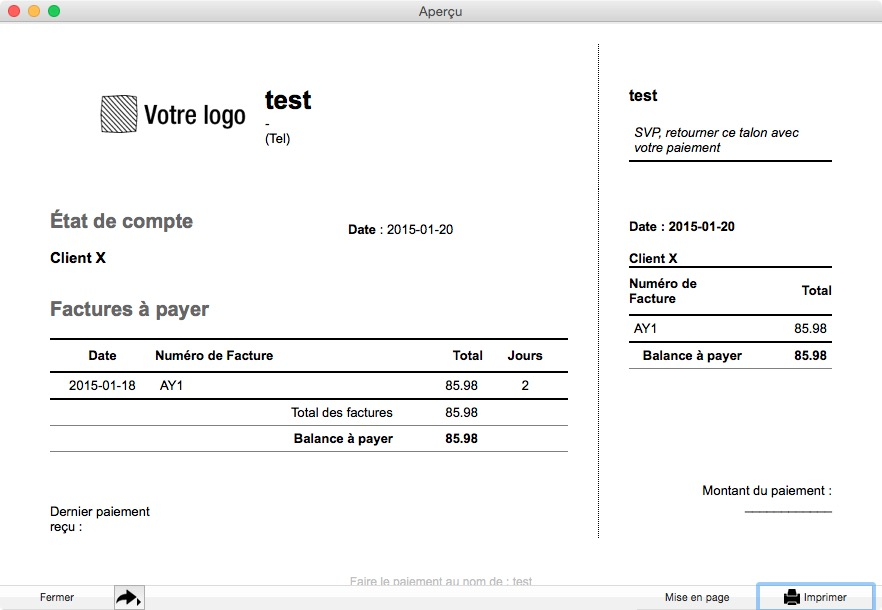 fr user guide accounts receivable compte client etat de compte kanjo documentation. Black Bedroom Furniture Sets. Home Design Ideas